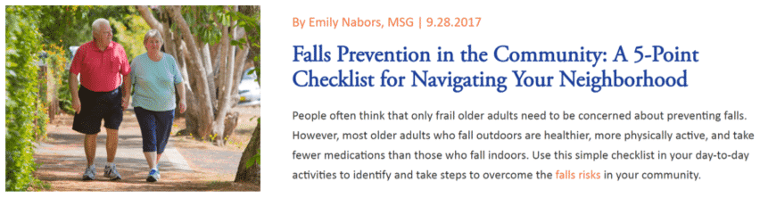 blogs snippet about falls prevention