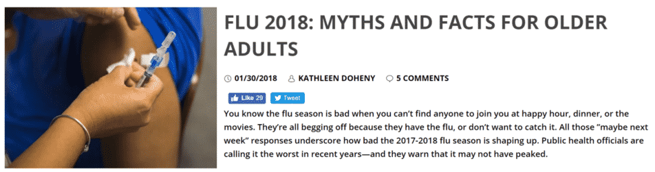blogs snippet about 2018 flu season