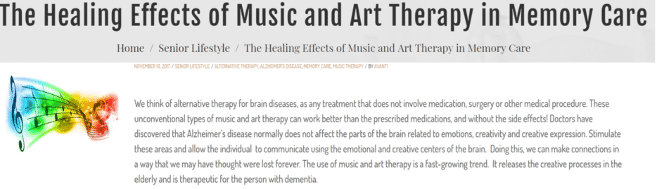 blogs snippet about the healing effects of music and art therapy